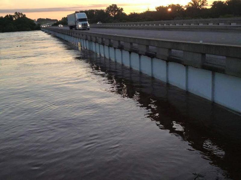 The Interstate 35 bridge over the Red River an the Oklahoma-Texas state line at 7 a.m. Friday.