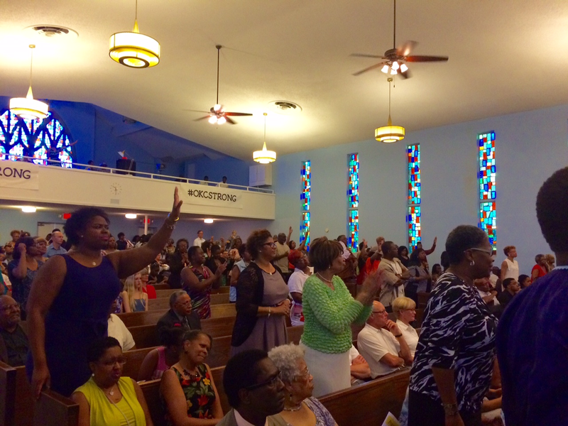 About 250 people attended Sunday night's vigil at Avery Chapel AME Church in Oklahoma City for the victims of the Emanuel AME Church in Charleston, South Carolina