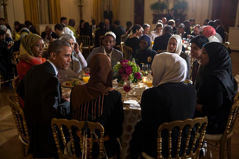 President Obama dines with young Muslim leader's during Monday's annual Iftar celebration at the White House.