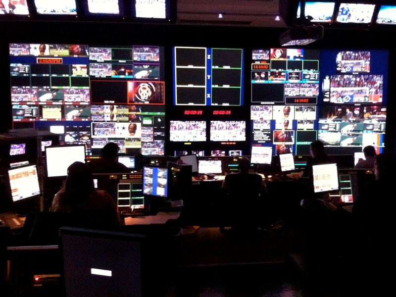 A control room in the ESPN studios in Bristol, Conn.