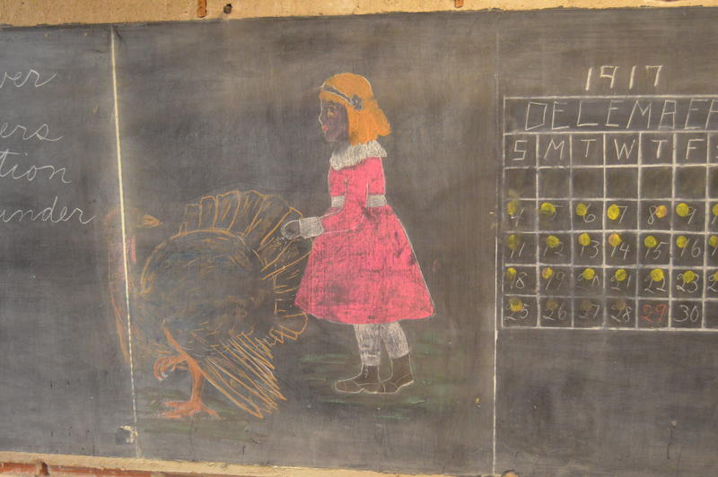 Contractors discovered chalk drawings and lessons on blackboards in Emerson High School, dating to 1917.