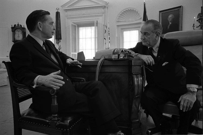 House Majority Leader Carl Albert (D-Okla.) sits in the Oval Office with President Lyndon Johnson.