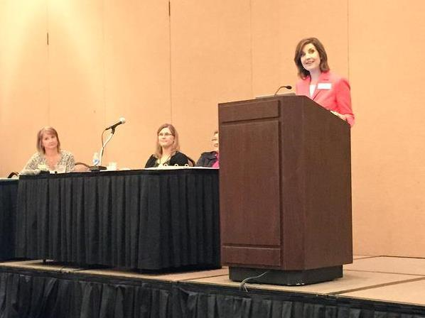 State Superintendent Joy Hofmeister speaks during Tuesday's town hall meeting on new academic standards in Oklahoma City.