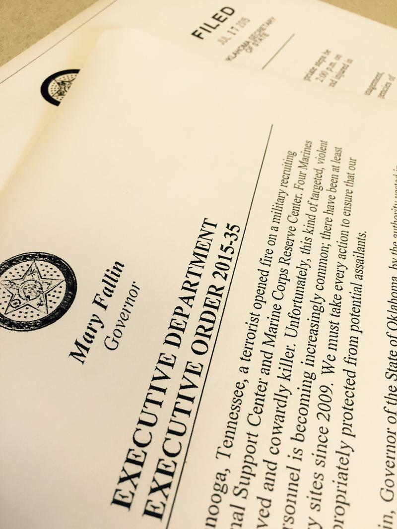 Copies of Gov. Mary Fallin's 2015-34 & 2015-35 executive orders