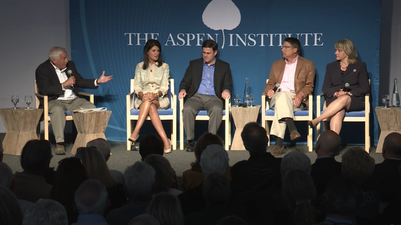Aspen Institute President and CEO Walter Issacson, South Carolina Gov. Nikki Haley, Arizona Gov. Doug Ducey, North Carolina Gov. Pat McCrory, and Oklahoma Gov. Mary Fallin during Tuesday night's panel discussion.