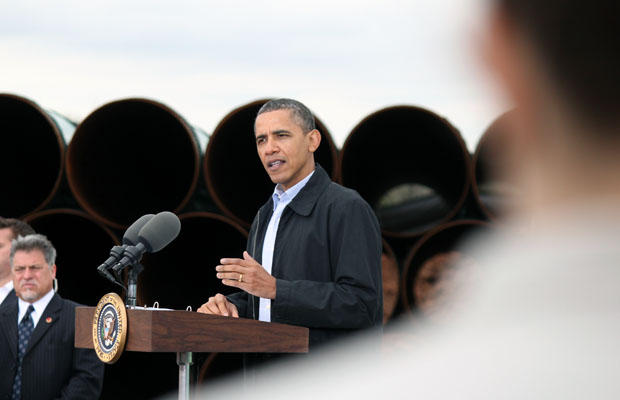 President Obama speaking to supporters in a pipe yard in Cushing, Okla. in 2012, where the Keystone XL Pipeline connects on its way from Canada to the Gulf Coast.