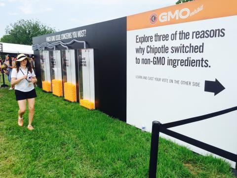 Folks attending a Chipotle Cultivate Festival in Kansas City on July 18 voted on their opinions after seeing an exhibit on genetically modified organisms.