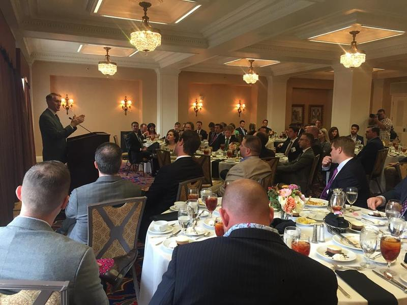 U.S. Sen. James Lankford (R-Okla.) speaks during Thursday's lunch at the Downtown Club in Oklahoma City.