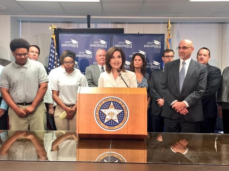 State Superintendent of Public Instruction Joy Hofmeister announces a pilot program to pay for ACT exams for all Oklahoma 11th graders - August 19, 2015.