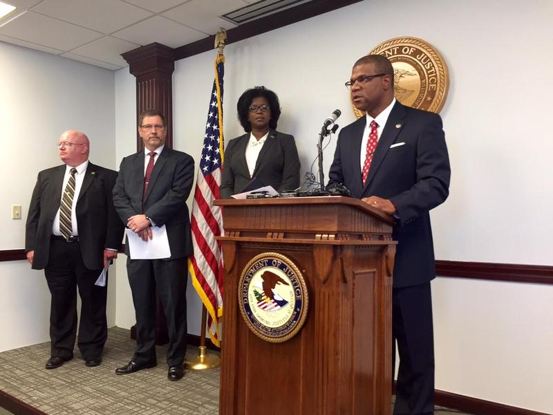 From right: US Attorney Danny Williams, Special Agent in Charge Madie Branch with the Dallas IRS office, FBI Special Agent in Charge Scott Cruse with the Oklahoma City office, OSBI Director Stan Florence.