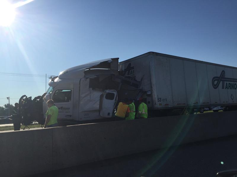 A semi along Interstate 35 between Norman and Moore after an early-morning fatality accident.