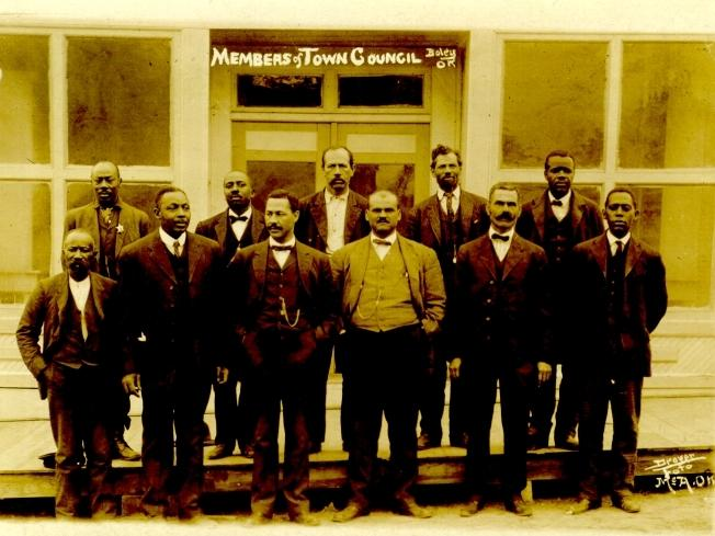 The town council of Boley, Okla. circa 1907 to 1910.