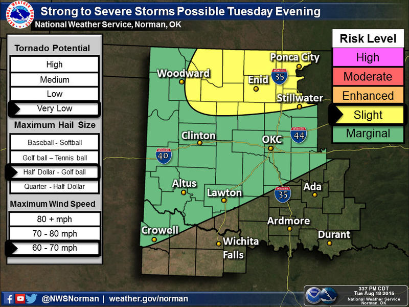 There is a slight risk of severe storms late this afternoon and tonight across parts of northern Oklahoma. Primary threats will be hail to the size of golfballs and winds up to 70 mph.