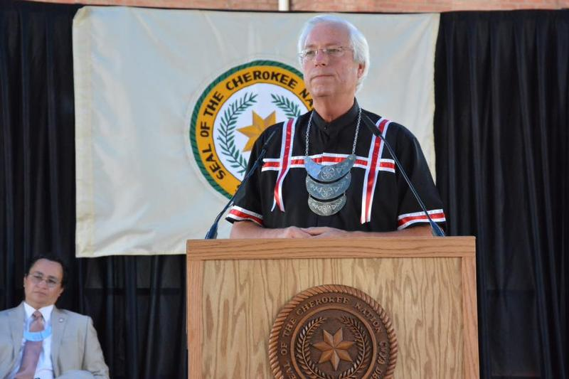 Cherokee Nation Principal Chief Bill John Baker delivers the annual State of the Nation address Sept. 5, 2015 in Tahlequah.