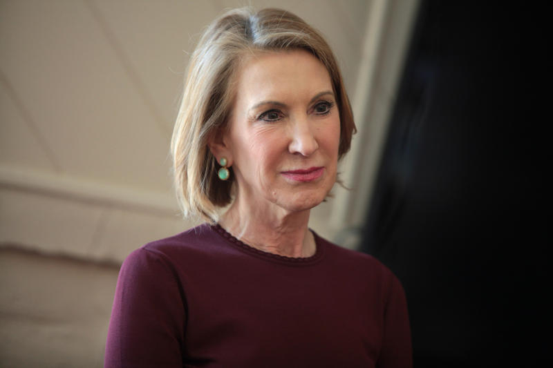 Carly Fiorina speaking at a coffee reception and fundraising event in Paradise Valley, Arizona.