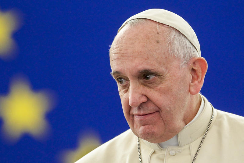 Pope Francis during a 2014 visit to the European Parliament in Strasbourg.