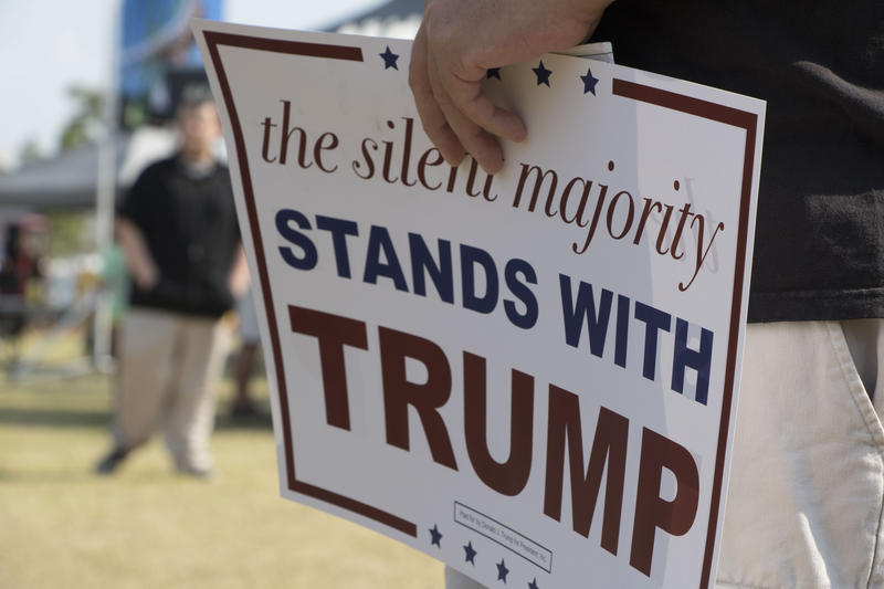 "Sign reading ""The Silent Majority Stands With Trump."""