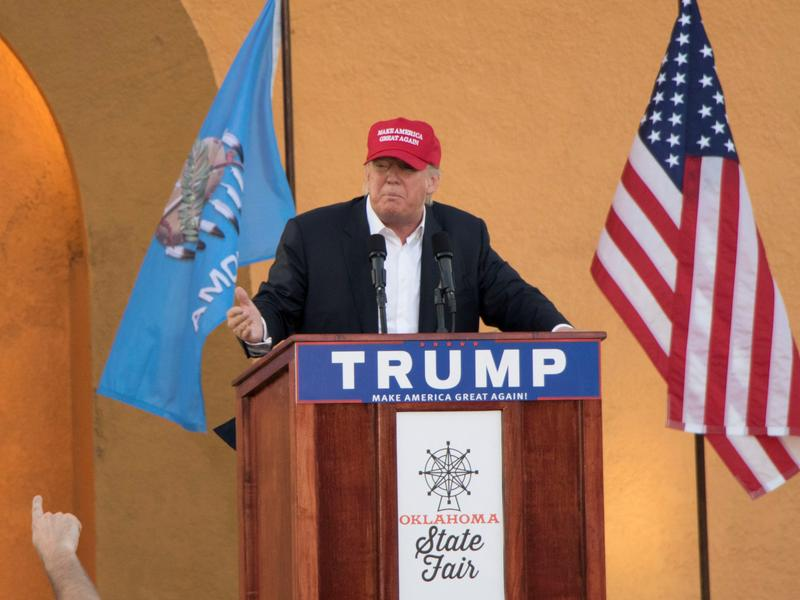 Donald Trump at a campaign stop at the Oklahoma State Fair in September 2015.