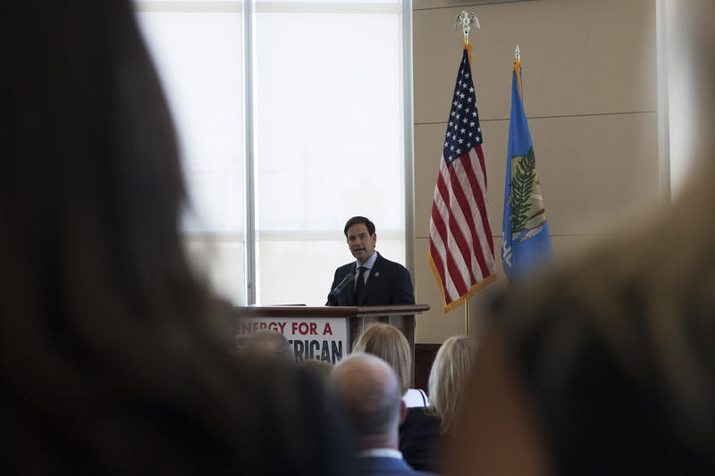 U.S. Sen. Marco Rubio (R-Florida) speaks to an audience Sept 2, 2015 at the Oklahoma Independent Petroleum Association.