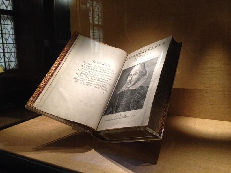 William Shakespeare's First Folio, behind glass at the Folger Shakespeare Library in Washington, D.C.
