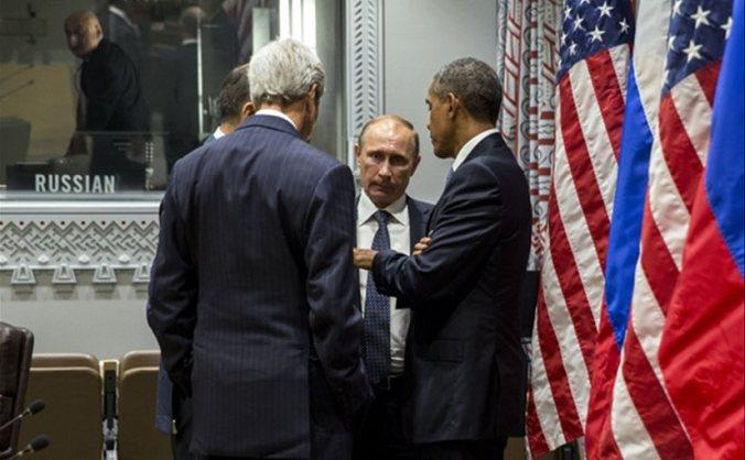 President Obama talks with Russian President Vladimir Putin and U.S. Secretary of State John Kerry during the 70th United Nations General Assembly Sept. 28, 2015.