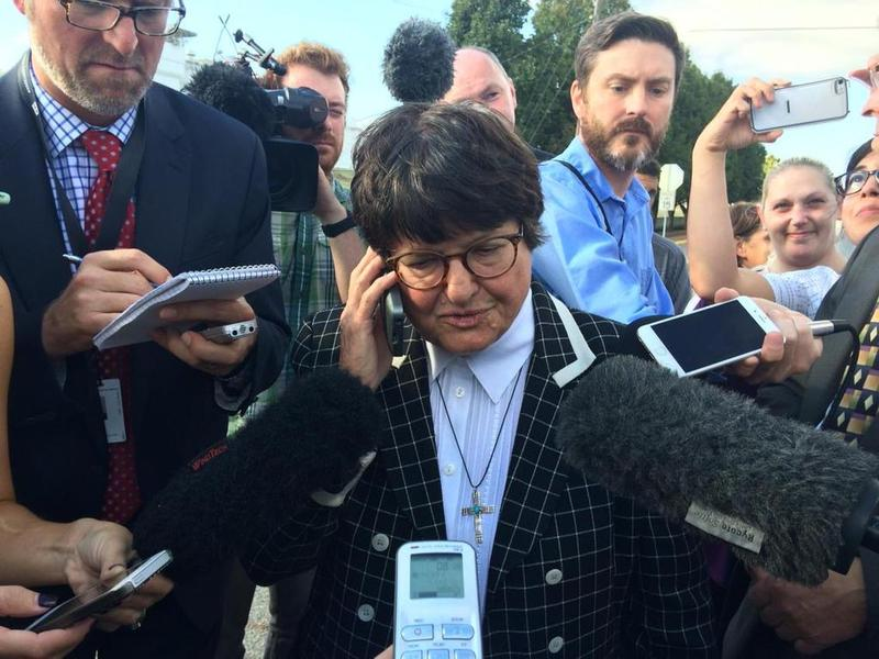 Death penalty opponent Sister Helen Prejean on the phone with Richard Glossip shortly after his Sept. 30, 2015 execution was stayed.