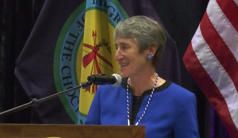U.S. Secretary of the Interior Sally Jewell at the Choctaw Nation headquarters in Durant, Okla. on Oct. 6, 2015.