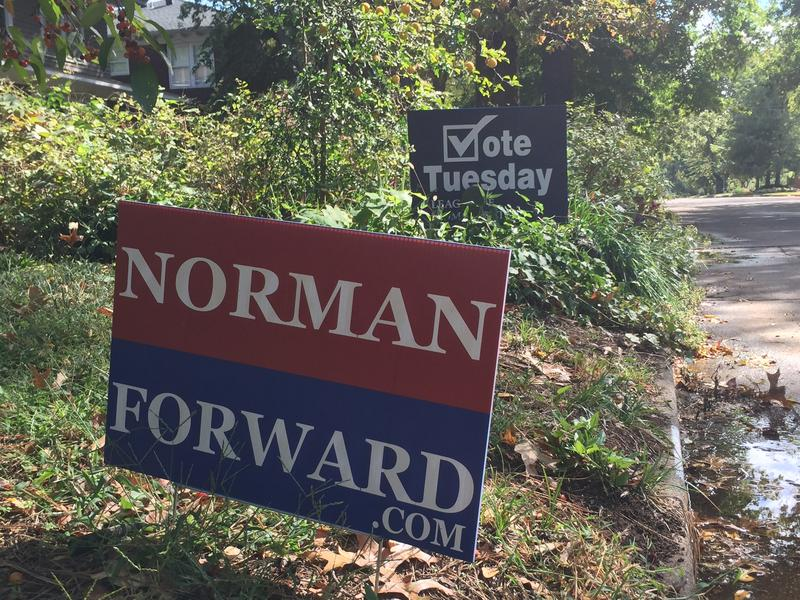 Signs dot the lawns of supporters of Norman Forward along South Lahoma Ave.