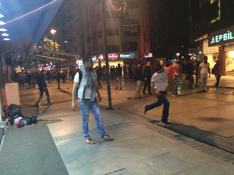 Protesters on the streets of Izmir, Turkey Ocotber 10, 2015 after the bombing in Ankara earlier in the day.