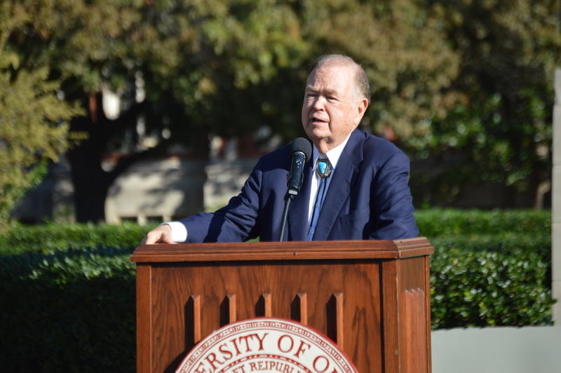 University of Oklahoma President David Boren announces the first Indigenous Peoples' Day October 12, 2015 outside the Bizzell Memorial Library on the south end of campus.