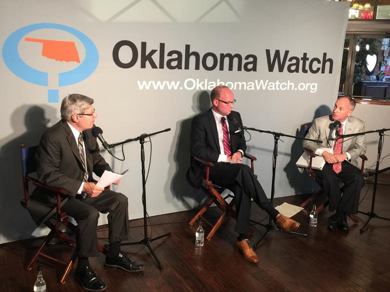 Oklahoma Watch Executive Editor David Fritze, House Minority Leader Scott Inman (D-Del City) and House Speaker Jeff Hickman (R-Fairview) during an Oct. 20, 2015 panel discussion in Oklahoma City.