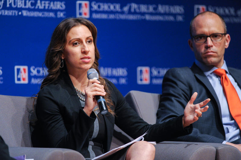 Melike Yetken speaking at an April 23, 2015 policy forum at American University that looked at how NGOs and government agencies are collaborating with the private sector to help solve poverty and development-related public policy problems.