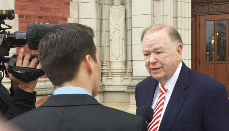 University of Oklahoma President David Boren, shown here during a 2015 press conference, is calling for a statewide penny sales tax for education.