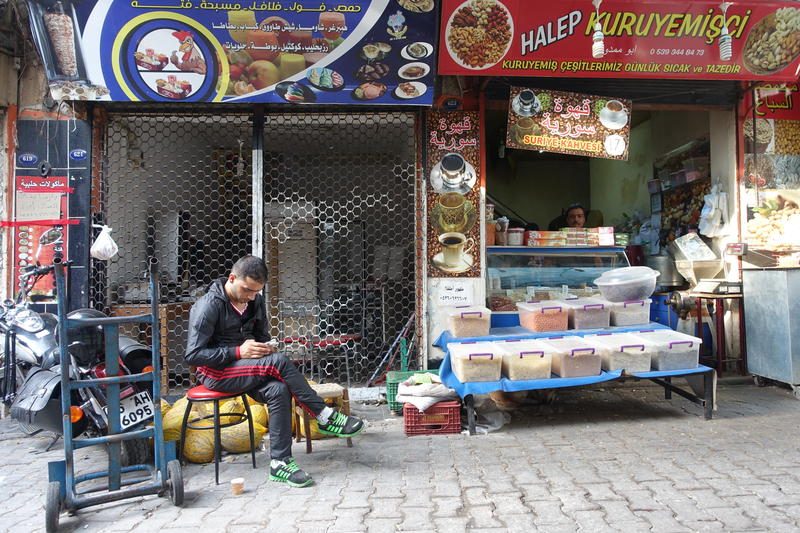 A vendor sells coffee in the Turkish city of Izmir - September 21, 2015.