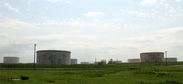 The oil hub in Cushing, Oklahoma.