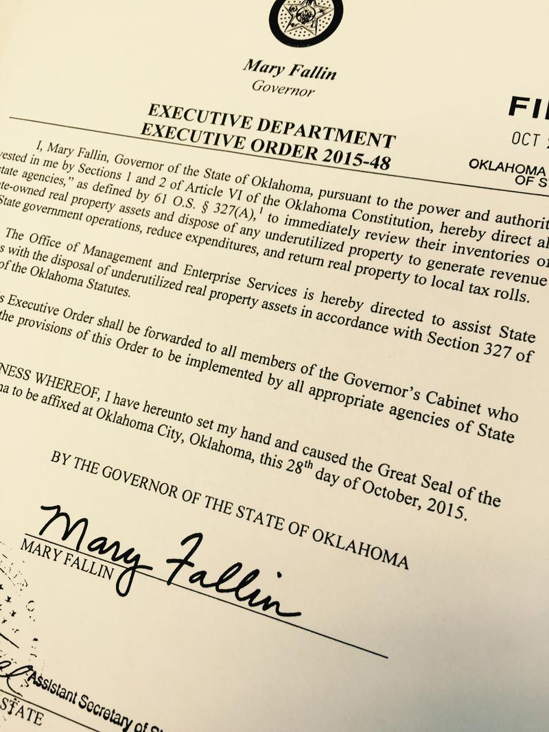 Copy of Governor Mary Fallin's executive order 2015-48