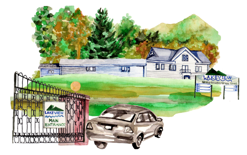 Watercolor rendering of Lakeview entrance