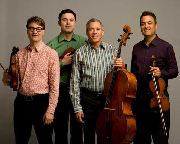 (Left-to-right) Benjamin Von Gutzeit, Mateusz Smoczynski, Mark Summer, & David Balakrishnan of the Turtle Island Quartet