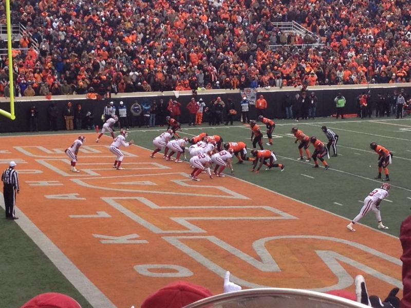 University of Oklahoma quarterback Blake Bell leads a fourth-quarter drive against Oklahoma State University during the 2013 Bedlam matchup in Stillwater,
