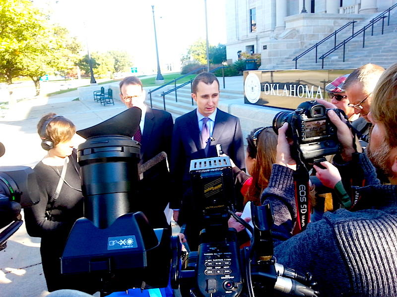 OCPA Impact's Dave Bond answers reporters' questions during a November 12, 2015 press conference outside the Oklahoma Supreme Court.