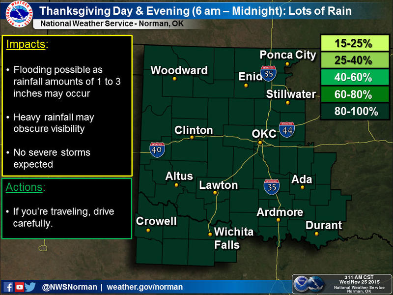 A very wet Thanksgiving Day is in store. Heavy and potentially flooding rainfall may occur, though no severe storms are expected.