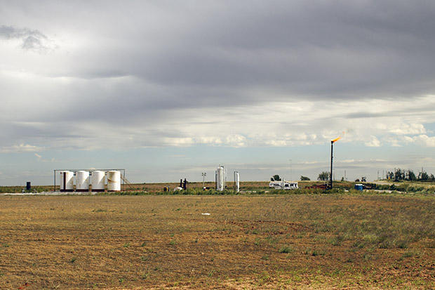 An oil and gas operation in northwestern Oklahoma's Mississippi Lime formation.