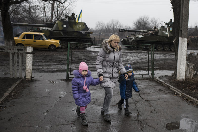 Heavy weaponry is moved through eastern Ukraine, disrupting day-to-day life.