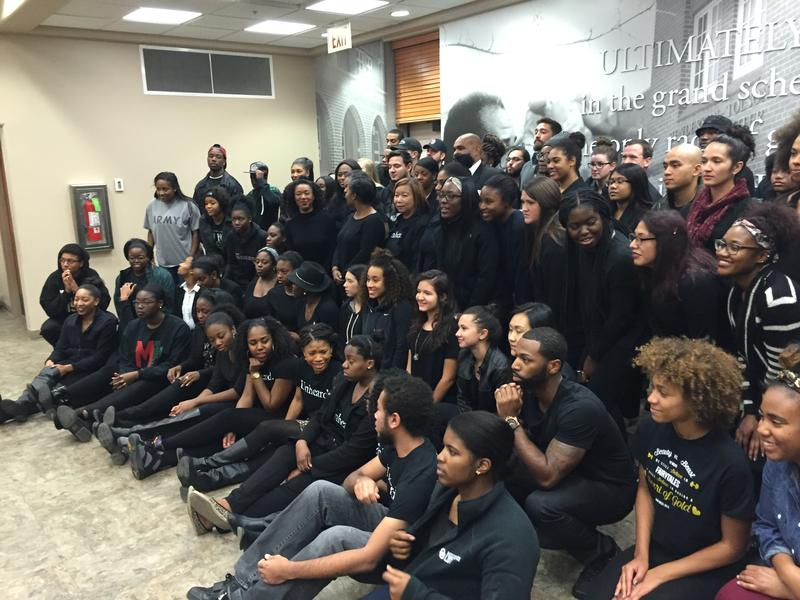 University of Oklahoma students pose in solidarity with University of Missouri protesters on November 12, 2015.