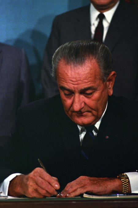 President Johnson signs the Public Broadcasting Act of 1967.
