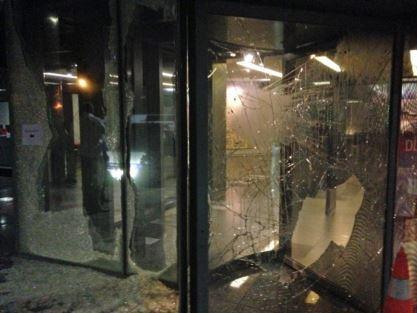 Aftermath of an attack by a group of AKP supporters on the Hürriyet newspaper headquarters in September 2015.