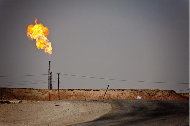 An oil field in the Middle East.