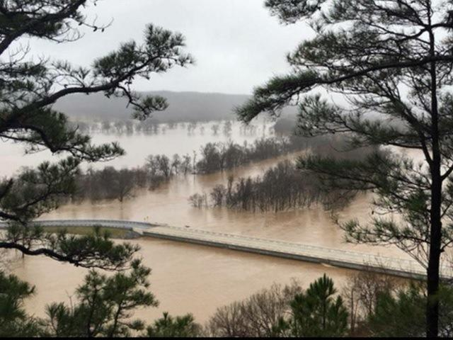 Flooding along the Illinois River on U.S. Highway 62 near Tahlequah.