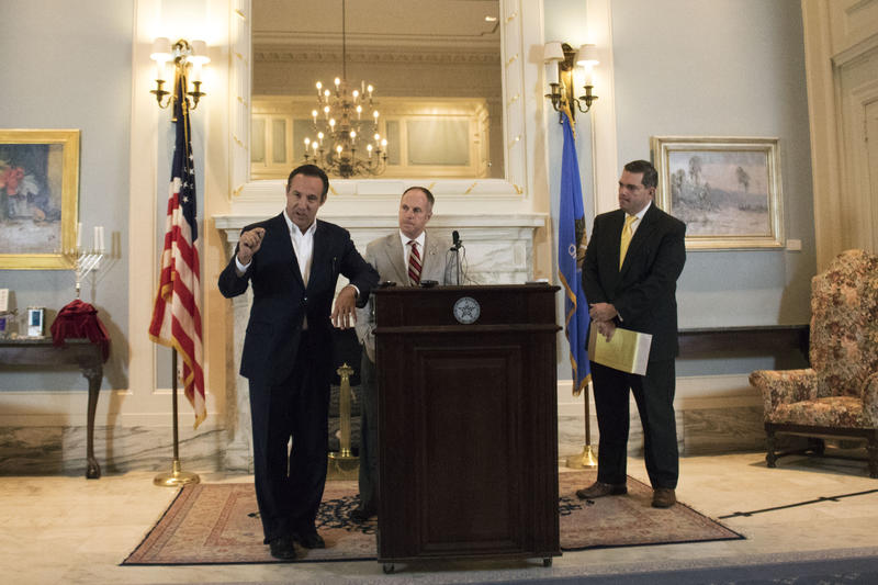 Finance secretary Preston Doerflinger (left), House Speaker Jeff Hickman (center), and State Sen. Clark Jolley (right) address the budget situation and revenue failure during a Deember 17, 2015 news conference at the state Capitol.
