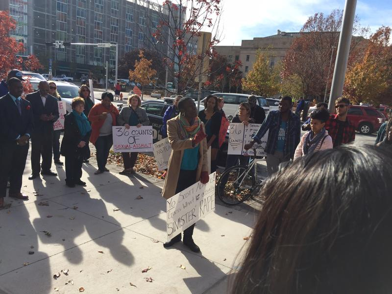 Candace Liger talks at a rally in front of the Oklahoma County District Court while a jury deliberates in the Daniel Holtzclaw case on Dec. 8, 2015.
